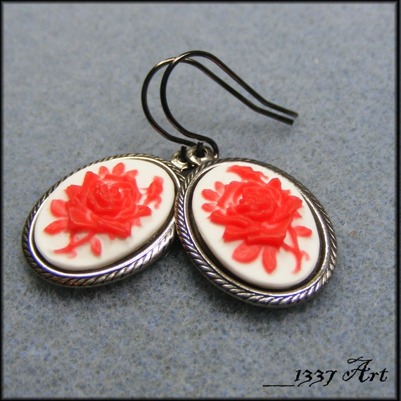 Rose Cameo Earrings, Red on White, Hypoallergenic Jewelry