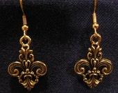 Fleur de Lis Earrings Gold Dipped Pewter Ornate