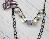 Purple Frost Necklace - vintage earring, vintage beaded chain FREE SHIPPING WORLDWIDE