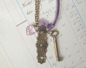 RESERVED Key To My Heart - vintage brass door key, vintage draw pull plate and pink glass heart charm