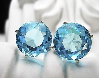 Deep Aqua -vintage glass earrings