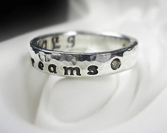 Chocolate Diamonds Personalized Fine Silver Ring - Design Your Own