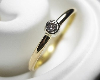 Stackable Diamond Ring 14K RECYCLED gold