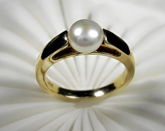 Pearl Engagement Ring - Cultured button pearl and 14K yellow gold