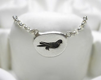 Embossed recycled sterling silver necklace - Little Antique Bird