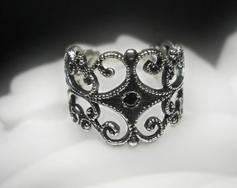 Black Diamond Filigree Ring
