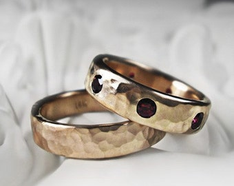 Two 14K Recycled Rose Gold Wedding Rings