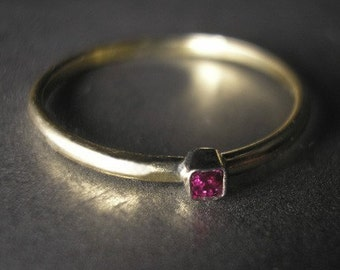 Stackable Ruby 14K Gold Ring