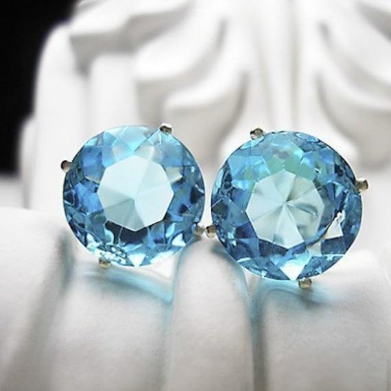 Deep Aqua -vintage glass earrings