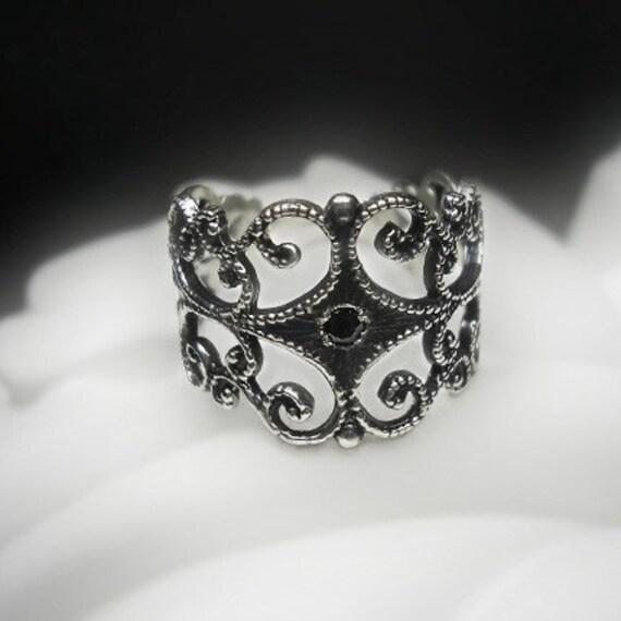 Black diamond filigree ring by beyondtherockz on etsy