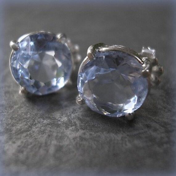 Aquamarine -vintage glass earrings