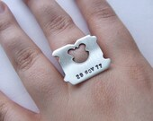 Milk and Bread - personalized bread tag sterling silver ring