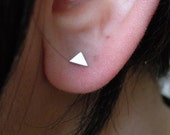 Tiny triangle studs earrings in sterling silver / mix and match earrings / nickel free