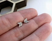 Chevron herringbone arrow earrings southwestern style in sterling silver - gift for her / gift for BFF / gift for sister / gift for friend