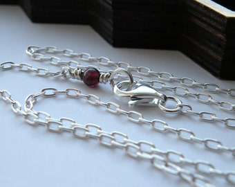 Sterling silver chain - 16 inches long with a red bead of garnet - nickel free chain / gift for her / chain for pendant / real silver chain