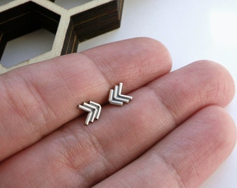 Chevron arrow earrings in sterling silver - nickel free studs - gift for her / gift for BFF / gift for sister / gift for friend
