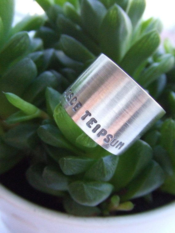 Ring band hand stamped Nosce Teipsum in sterling silver - nickel free ring - self confidence gift for her / gift for BFF / gift for sister