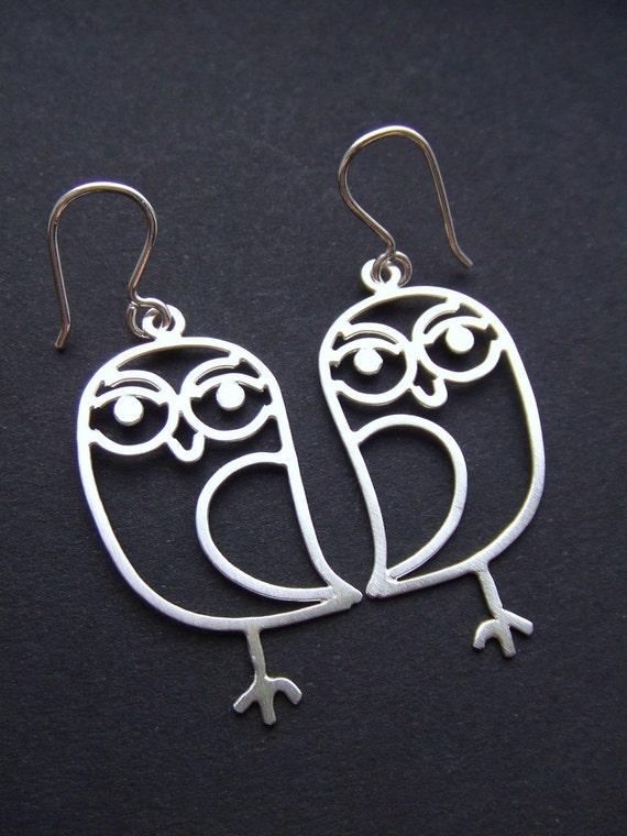 Sweet Owls - sterling silver owl earrings