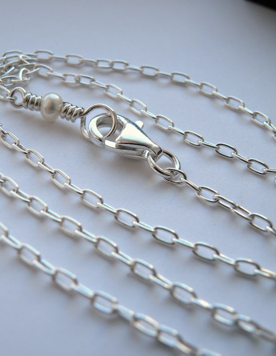 18 inches sterling silver chain with white pearl and lobster clasp - gift for her - nickel free - nickel free chain