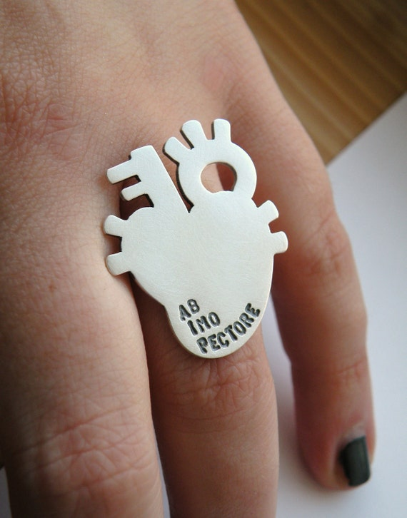 Anatomical heart ring personalized in sterling silver - gift for her / gift for friend / gift for sister / gift for BFF / nickel free