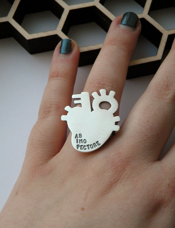 Ab Imo Pectore - personalized anatomical heart ring in sterling silver