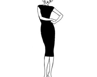 PDF Sewing Pattern for Women - Marilyn's LBD Sheath dress in knit or jersey (Set 3 - sizes E,F,G,H)
