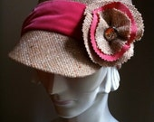 Camel tweed hat with pink velvet band- Feminine military hat- Fashion cap- Handmade by Anne DePasquale