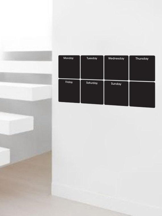 Chalkboard Calendar Wall Decal : Small weekly chalkboard calendar vinyl wall decal