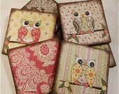 Owl Bird Coasters Decoupaged Wood Wooden Drink Coaster Set of 6 Gifts for Couples, Housewarming Gift MADE TO ORDER