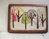 Decoupaged Wall /Key/Jewelry Hook---MADE TO ORDER--5X7 Colorful Trees, Kitchen Storage, Organization