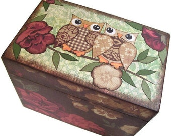 Recipe Box, Wood Recipe Box, Decoupaged Recipe Box, Owl Bird Recipe Box, Wedding Recipe Box, Bridal Shower, Holds 4x6 Cards, MADE TO ORDER