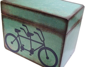 Wedding Guest Book Box Alternative, Tandem Bike, Wedding Box Set with (9) ABC Tab Dividers Large, Couples Gift, Bridal Shower, MADE To ORDER