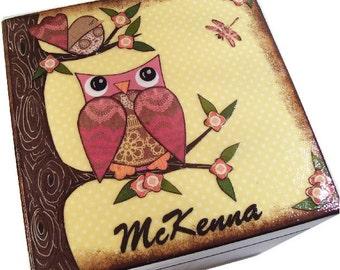 Keepsake, Treasure, Trinket Storage and Organization Box For Baby or Child, Owl Bird Decor, Custom Designs, Decorative Box, MADE TO ORDER