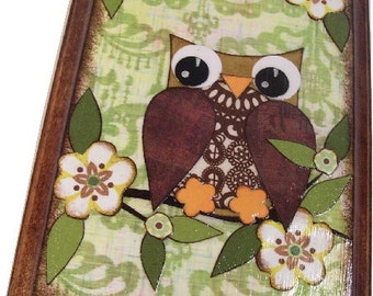 Wall Plaque, Key Hook,  Key Rack, Jewelry Rack Holder 5x7 Owl Plaque Decoupaged Wooden Plaque   MADE TO ORDER