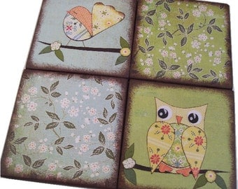 Owl Bird Coasters Decoupaged Wood Wooden Drink Coaster Set of 4 Housewarming Couples Gift MADE TO ORDER By Gifts And Talents