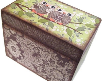 Recipe Box, Personalized, Couples Gift, Bridal Shower, Bridal Gift, Decorative Box, Owl and Other Designs, Holds 5x7 Cards, MADE TO ORDER