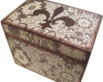Recipe Box, Wood Recipe Box, Decoupaged Recipe Box, Fluer de Lis  Box, Wedding Recipe Box, Bridal Shower Box, Holds 4x6 Cards, MADE TO ORDER