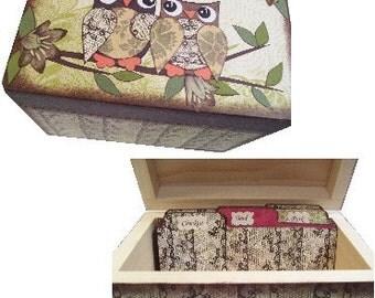 Recipe Box,Tab Dividers SET Decoupage Handcrafted Box, Large, Owl Bird Decor, Kitchen Organizer, Recipe Holder, Storage, MADE To ORDER