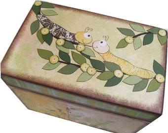Wishes for Baby Box, Holds 4x6 Wishes Cards, Decorative, Baby Shower, Childrens Box, Caterpillar, Baptism Gift, Baby Storage MADE TO ORDER