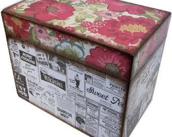 Recipe Box, Decoupaged, Handcrafted Box, Owls & Other Designs, Kitchen Storage Organization, Wedding Box, Bridal Shower MADE TO ORDER