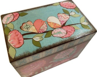 Recipe Box 4x6 MADE To ORDER  Decoupaged Bright Bold Birds- This Box Is LARGE and Crafted by Hand of Wood