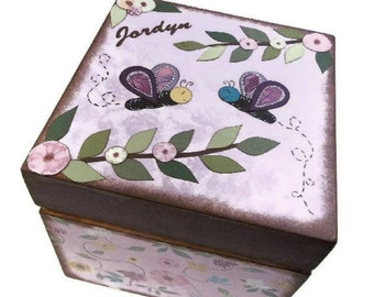 Keepsake, Treasure, Trinket Storage and Organization Box For Baby or Child, Butterfly Box, Custom Designs, Decorative Box, MADE TO ORDER