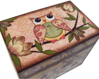 Personalized Recipe Box, Decoupage Wood Owl Box, Couples Gift, Gift for Her, Decorative Storage Organizer, Holds 3x5 Cards, MADE TO ORDER