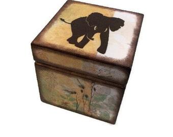 Keepsake,Trinket, Jewlery, Decorative Box, Elephant Box, For Children, Baby Storage Box, Gift for Baby Personalized Gift, MADE TO ORDER