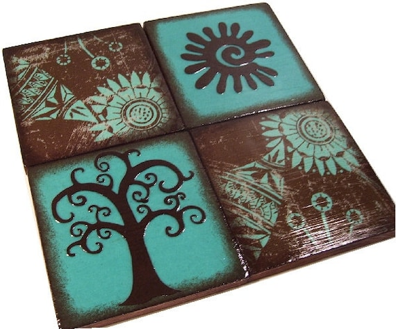 Owl, Bird, Tree Coasters Decoupaged Wood Wooden Drink Coaster Set of 4, Couples Gift, Housewarming, Gift, Teal,Brown MADE TO ORDER