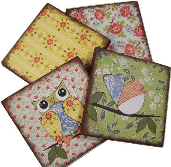 Owl Bird Coasters Decoupaged Wood Wooden Drink Coaster Set of 4  Couple Gift Housewarming MADE TO ORDER By Gifts And Talents