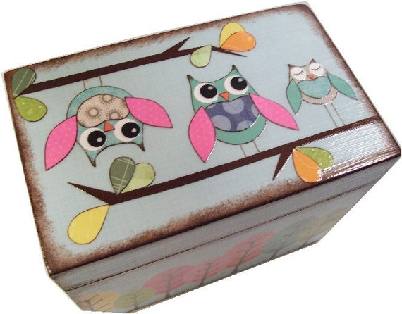 Wishes for Baby Box, Baby Shower Box, Holds 4x6 Wishes Cards, Decorative, Gift for Baby or Child, Whimsical Owls, Baby Storage MADE TO ORDER