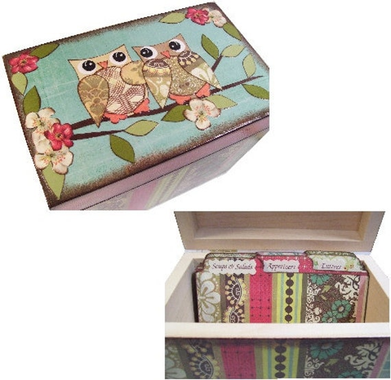 Recipe Box,Tab Dividers SET Decoupage Handcrafted Recipe Box, Large, Bird, Owl Box, Kitchen Organizer, Recipe Holder, Storage, MADE To ORDER