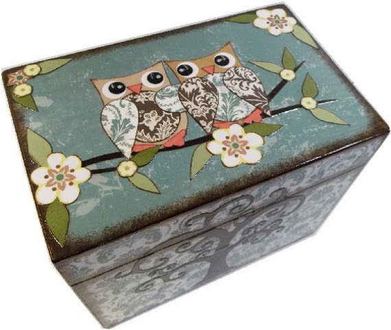 Wedding Guest Book Box Alternative  Love Owls and Other Designs Decoupaged Wedding Box MADE TO ORDER Large Holds 4x6 Index Cards