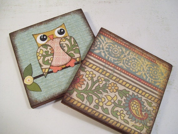 Owl Bird Coasters Decoupaged Wood Wooden Drink Coaster Set of 2 Gift for Couples Housewarming Gift MADE TO ORDER By Gifts And Talents